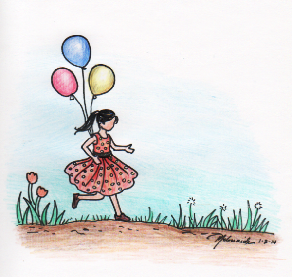 Hopping Girl with Balloons